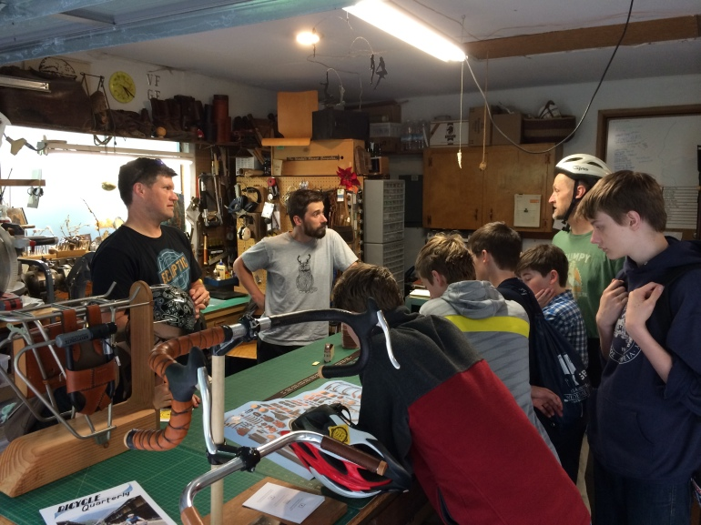 Taking questions in the Walnut Studiolo workshop