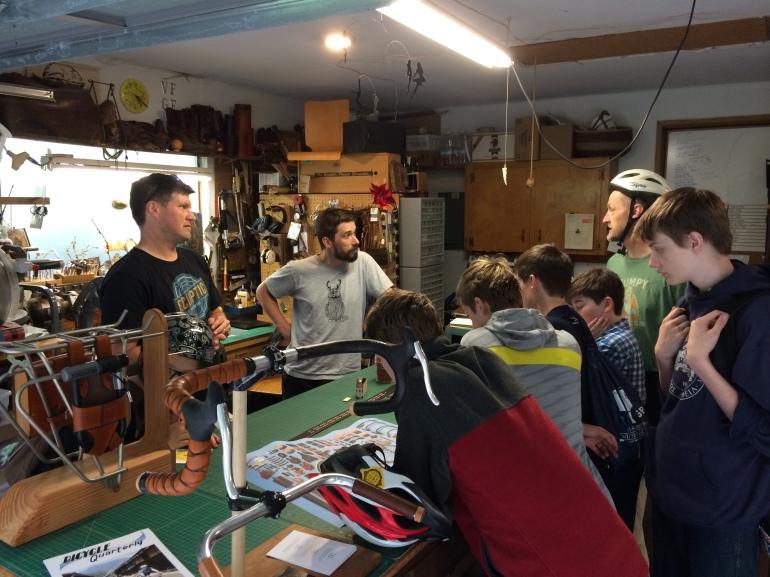 Taking questions in the Walnut Studiolo workshop