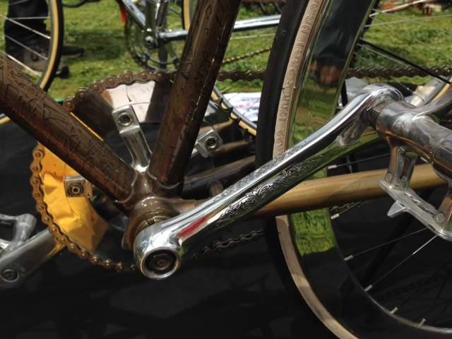 Bronze detail on the bicycle frame