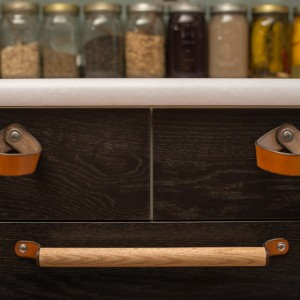 Walnut Studiolo leather and wood draw pulls
