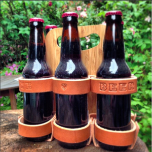 I Love Beer Monogrammed Leather 6-Pack