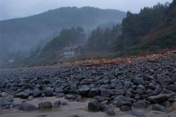 Rocks line the coast