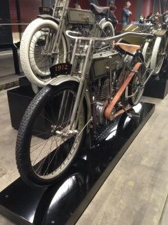 1912 vintage Harley Davidson at the Harley Davidson Museum in Milwaukee Wisconsin.