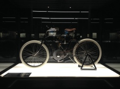 The first Harley Davidson motorized bicycle.