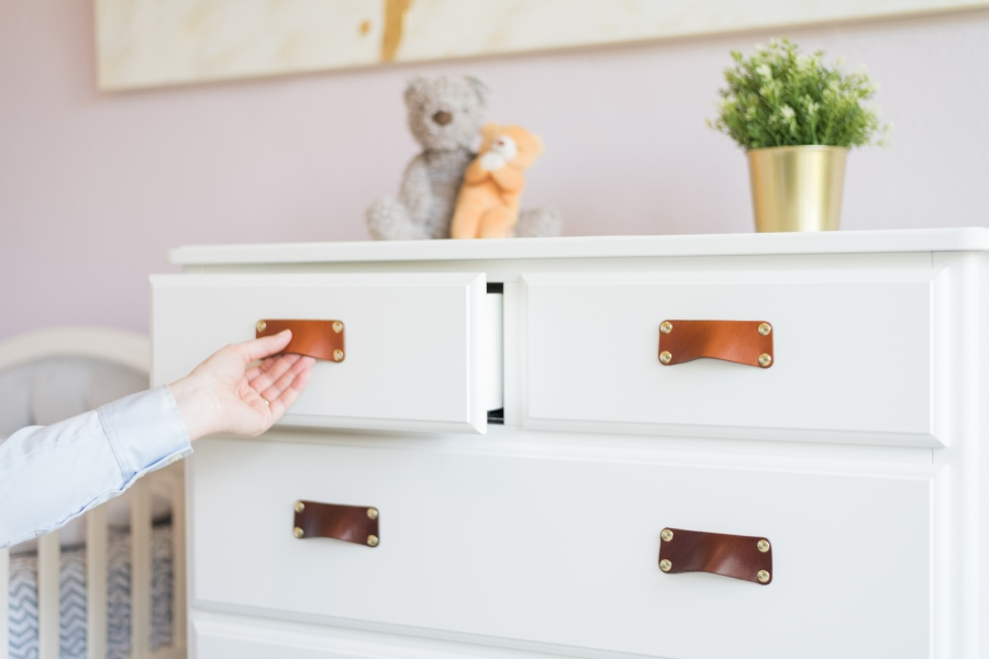 Soft, Nontoxic Leather Drawer Pulls in Kids Room Remodel