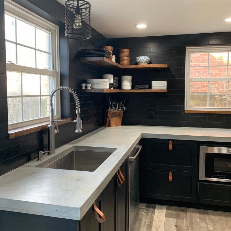 Concrete countertops with handmade leather cabinet pulls