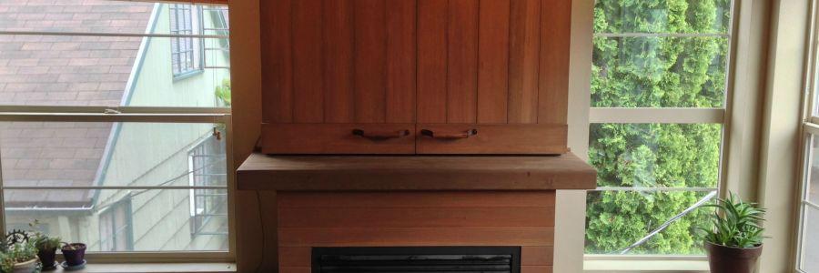 Mini Barn Door Hiding Television