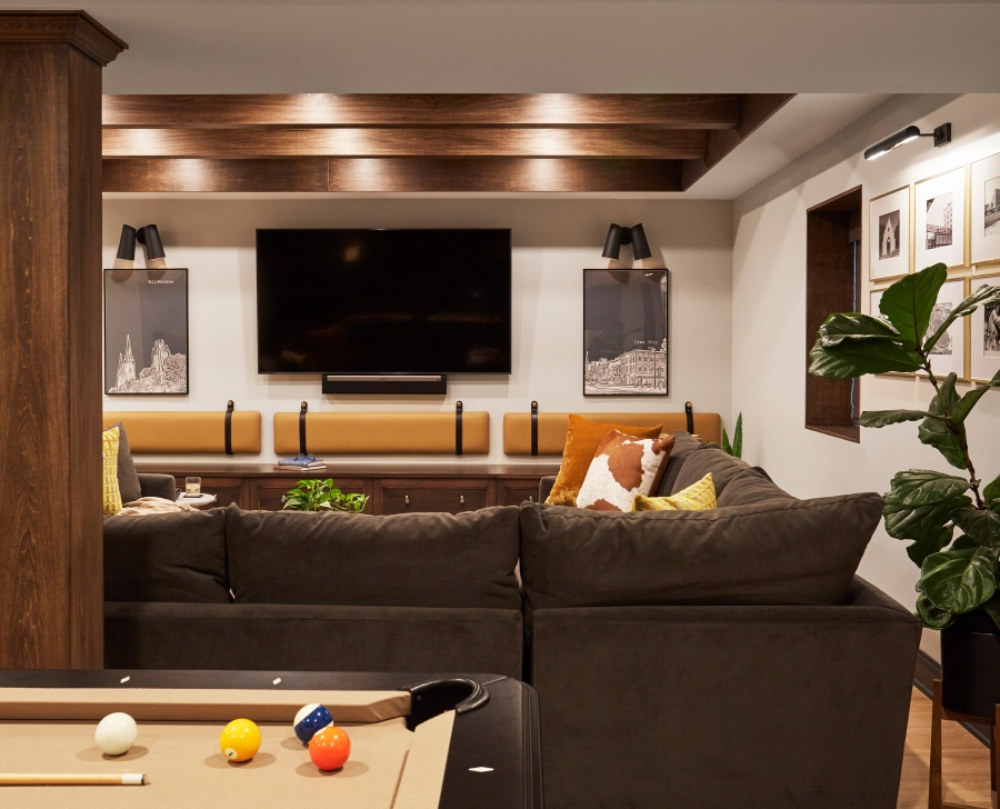 Basement Entertainment Room Remodel, Two Hands Interiors