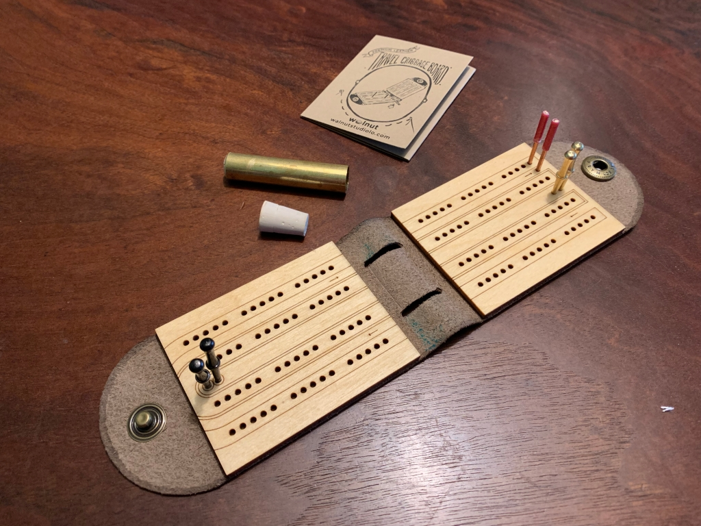 Travel Cribbage Board with 3 Players